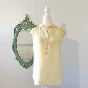 J.Crew Silk Henley Peter Pan Collar Blouse Top